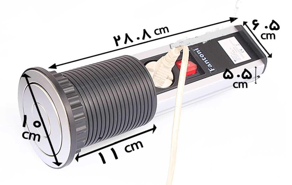 پریز توکار کابینتی استوانه ای مدل N371 سیلور