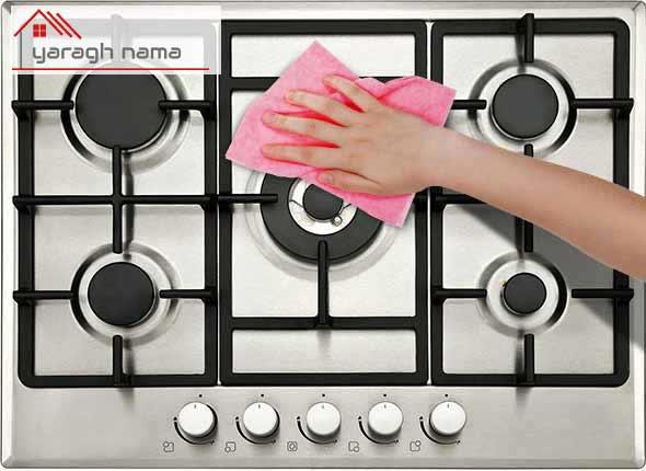تمیز کردن گاز رومیزی استیل در یراق نما